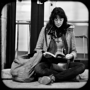 Image of woman waiting for a bus