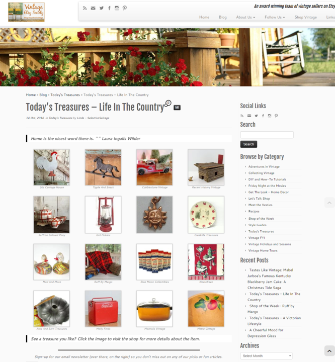 "Vintage Etsy Society ""Today's Treasures - Life in the Country,"" blog post"
