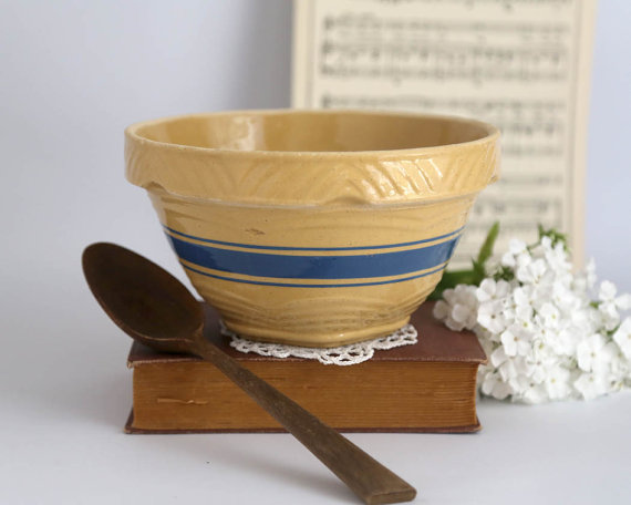 Yellowware bowl from The Heirloom Shoppe on Etsy