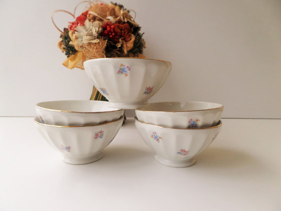 French cafe au lait bowls with tiny pink flowers and gold trim